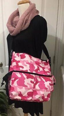 Skip Hop Duo Pink Camo Nylon Zip Messenger Satchel Shoulder Strap Diaper Bag GUC Hop Pink Camo