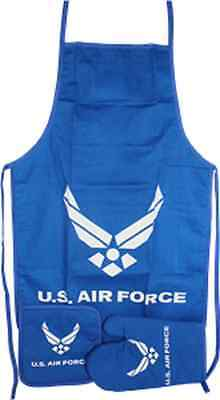 Blue USAF Air Force Wings BBQ Barbeque Apron Cook Set  ()