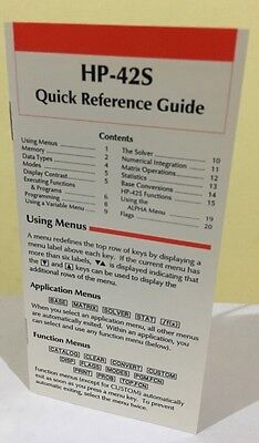 Hp 42S Quick Reference Guide