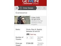 2x Evanescence Tickets - Sheffield - 6th April 2018 (front row of circle)