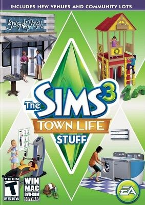 Computer Games - The Sims 3 Town Life Stuff PC Games Windows 10 8 7 XP Computer expansion pack