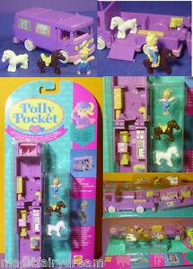 Polly Pocket Mini NEU ♥ Lila Pferde Auto ♥ Stable on the Go ♥ 1994 ♥ OVP ♥ NEW ♥