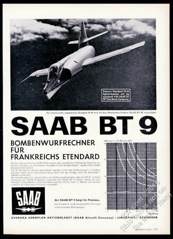 1962 Dassault Etendard IV plane photo Saab BT-9 bomb computer German print ad