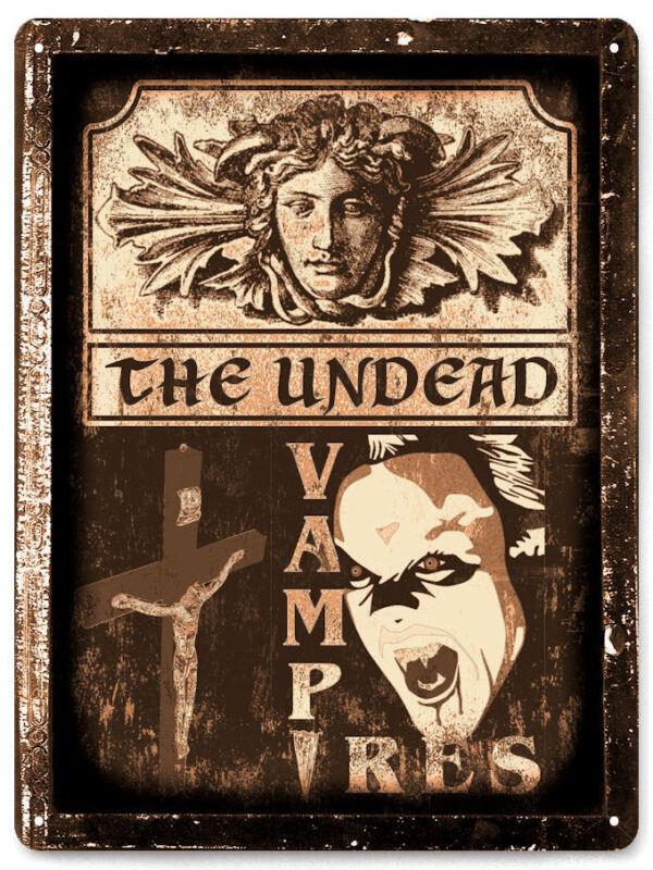 DRACULA METAL sign HALLOWEEN scary PROP VAMPIRE HORROR vintage style decor 061