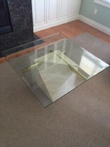Modern Coffee Table with Limestone Base and Glass Top