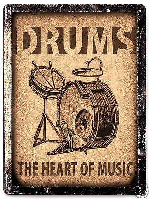 DRUMS METAL SIGN VINTAGE style plaque MUSIC STUDIO wall decor great gift art 001