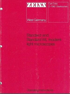 Zeiss Standard Standard Wl Reflected Light Microscope Operating Manual On Cd