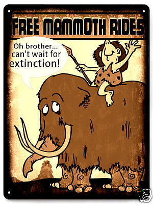 Mammoth Metal Sign Caveman funny kids room educational art Wall decor 223  (Caveman Decorations)