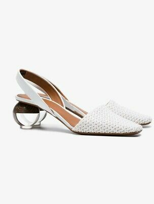 Neous Slingback White Leather Shoes Size 37 US 6.5