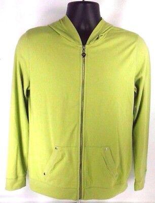 Style & Co. Women Jacket Size M Sport Hooded Long Sleeve Green Cotton Spandex