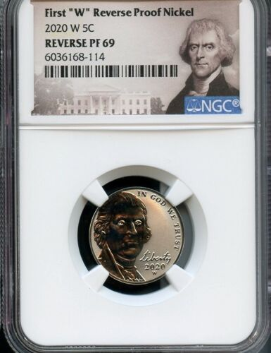 "2020 W First ""W"" Reverse Proof Nickel NGC PF69 Portrait Label"