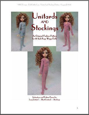 """Unitards & Stockings"" 18 inch Ball Jointed Doll Kaye Wiggs BJD Clothing Pattern"