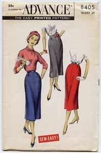 50s Vintage Sewing Pattern Advance 8405 Sew Easy 1 One Yard Slim Straight Skirts