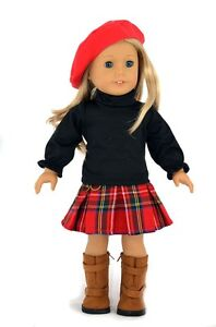 Doll-Clothes-fit-18-American-Girl-Doll-3PCs-Handmade-Outfits-Hat-Shirt-Skirt