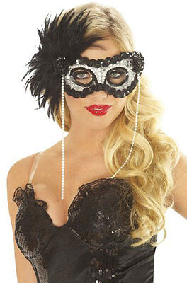 ONYX PEARL FEATHER MARDI GRAS MASK BLACK SILVER MASQUERADE COSTUME MASKS 33938