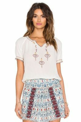 HOSS INTROPIA~NWT $151 Vintage Inspired Embroidered Gauze Peasant Top~36 Eur / 4