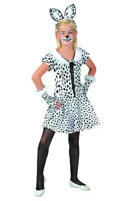Dalmatiner Kinder Kostüm Mädchen Kleid Hund Tierkostüm Fasching Gr. 104 - Mädchen Tier Kostüm Kleid