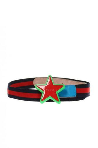 NWT Gucci Kids Elastic Blue/Red/Blue Band Star buckle belt 455907