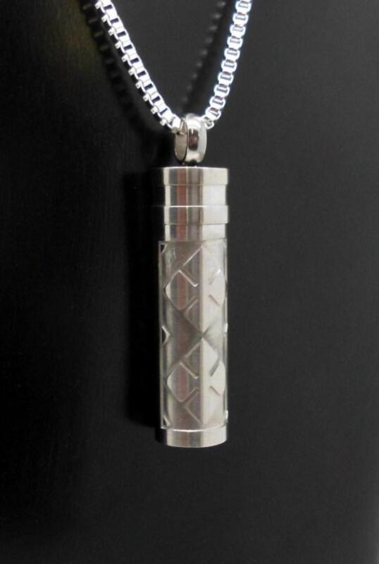 Silver S/Steel Checkered Cylinder Memorial Keepsake Urn Ash Jewellery Pendant