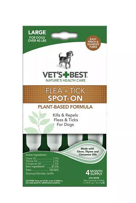 Vet's Best Topical Flea & Tick Treatment for Dogs over 40lbs, 4ct-Free