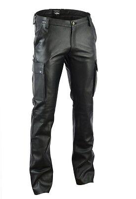 Schwarze Napa Leder (720 Neue Cargo Lederhose napaleder,Cargohose Leder Hose,leather trousers cuir)