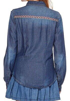 Chemise en jean bleu, vert clair et fuchsia terranova neuf