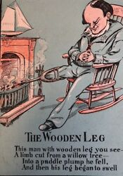 Antique Wooden Leg 1900 Color Print Asleep Fireplace Grandfather Clock Wag