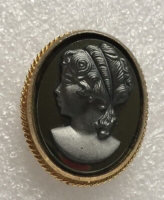 Vintage Victorian Black Glass Cameo Brooch Pin Gold Tone FREE SHIPPING