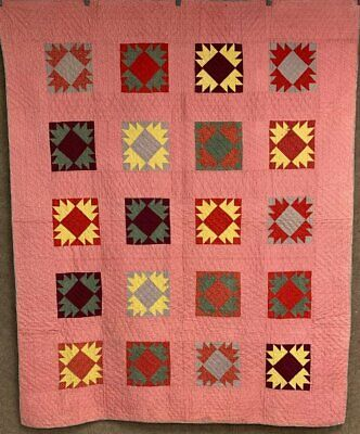Antique PA c 1890s Bear Paw QUILT Turkey Red   Crisp Never Used!
