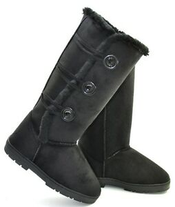 NEW-SEASONAL-FASHION-WOMENS-BLACK-SIDE-BUTTON-FUR-LINED-MID-CALF-BOOTS-SIZE-4-8