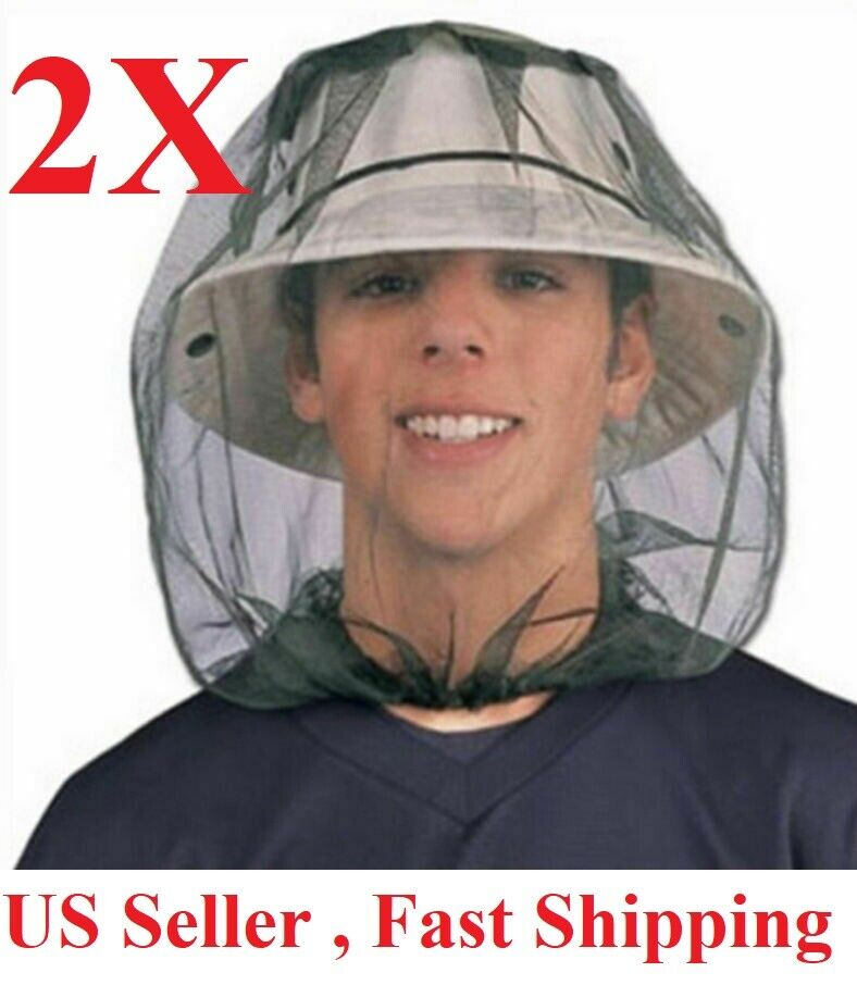 2PCS Anti-Mosquito Bug Bee Insect Head Net Hat Cap Sun Protection Fishing Hiking Camping & Hiking
