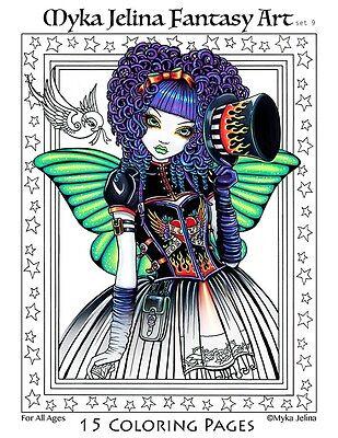Myka Jelina - Coloring Pages - Fairy Art - Big Eyed - Angels - Set 9