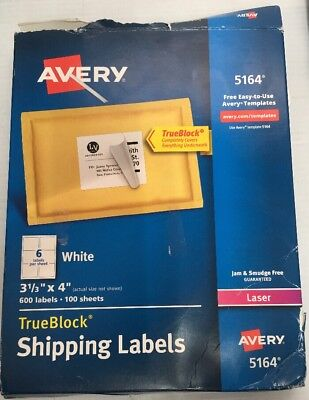 Avery 5164 White Shipping Labels 3-13 X 4 600 Labels Trueblock Laser Damage