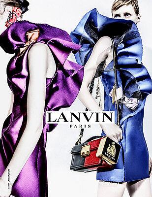 $3190 Lanvin AUTH Mesh Side Ruffle Techno Duchess Satin Dress 36 Alber Elbaz
