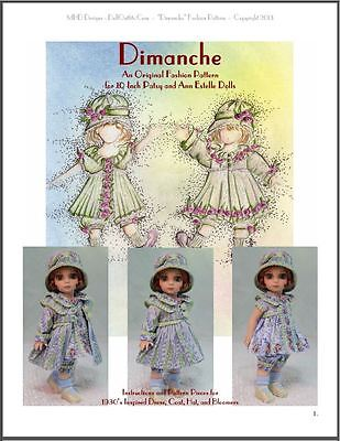 """Dimanche"" Fashion Pattern for 10 Inch Tonner Ann Estelle and Patsy"