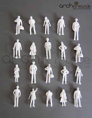100 x Modell Figuren, weiß unbemalt, für Modellbau 1:75, Modelleisenbahn Spur 00