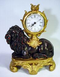 LION Mantle Shelf Desk Table CLOCK Classic ELEGANT Regal LEO King Figure QUARTZ