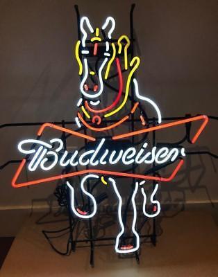 "New Budweiser Clydesdale Horse Beer Bar Light Lamp Neon Sign 24""x20"""