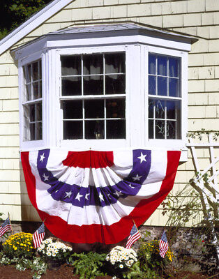 Cotton Full Pleated Fan (Patriotic Pleated Full Fan Bunting Stars & Stripes Poly Cotton Sheeting 4' X)