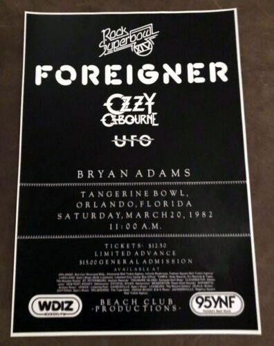 1982 ROCK SUPER BOWL 14 Concert Poster ORLANDO FL OZZY RANDY RHOADS PLANE CRASH