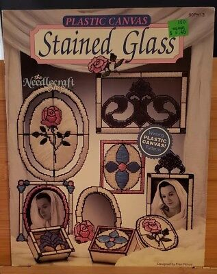 JAY080 THE NEEDLECRAFT SHOP 1990, PLASTIC CANVAS STAINED GLASS ~ 9 (Designer Glasses Shop)