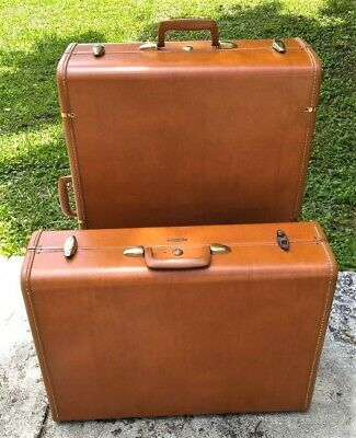 "Vtg 2pc Schwader Bros Samsonite Leather 29"" Wardrobe & 24"" Suitcase Luggage Set"