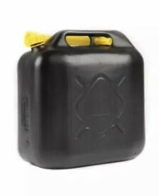 20 litre Jerry Can filled with Shell Super Petrol (+ fuel stabaliser). Black plastic