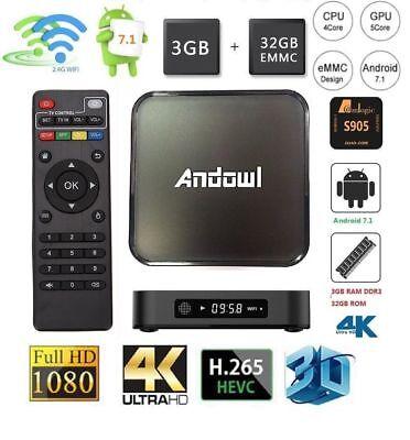 SMART TV BOX 4K OTG WI-FI ANDROID 7.1 3GB RAM 32GB ROM AMLOGIC S905 QUAD CORE