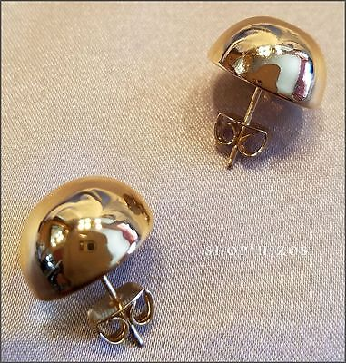 CLASSIC GOLD BALL LARGE 18 MM DOME HALF BALL STUD EARRINGS NEW USA SELLER 18 Mm Half Ball