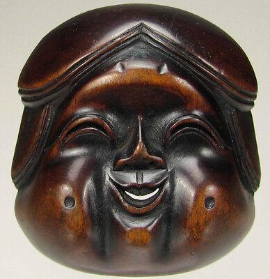 Top-quality, 19th C., Wooden Japanese Otafuku/Okame Netsuke Mask (Mennetsuke)