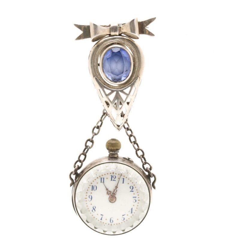Sterling Silver Sapphire Brooch Pendant Ladies Watch