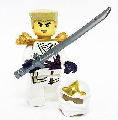 LEGO NINJAGO MINIFIGURE ZANE ZX GOLD ARMOR KATANA WHITE NINJA WITH HAIR AND HOOD