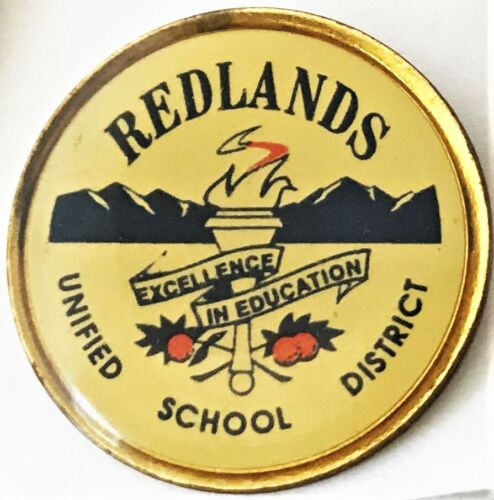 Vintage Lapel Hat Pin Redlands Unified School District Union-Made in USA