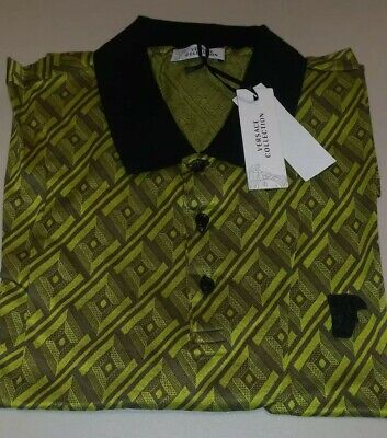 $450 Mens Versace Collection All Over Print Polo Shirt yellow/Black 2XL